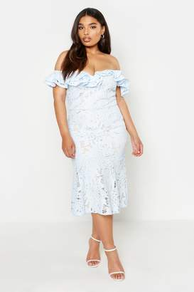boohoo Plus Premium Lace Off Shoulder Midi Dress
