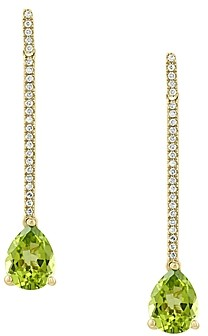 Bloomingdale's Peridot & Diamond Drop Earrings in 14K Yellow Gold - 100% Exclusive