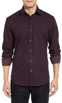 Bugatchi Men's Classic Fit Step Check Sport Shirt