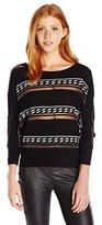 XOXO Women's Novelty Stripe Button Back Sweater