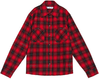Off-White Stencil Flannel Check Shirt in Red & Black | FWRD