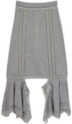 Burberry Chantilly Lace And Wool Jersey Skirt