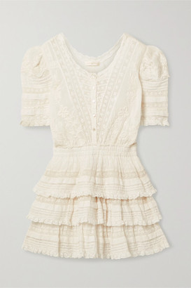 LoveShackFancy Quincy Crochet-trimmed Embroidered Cotton-voile Mini Dress - Ivory