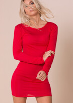 711f47b0a74 Missy Empire Missyempire Amber Red Long Sleeved Crew Neck Basic Dress £13  at Missy Empire
