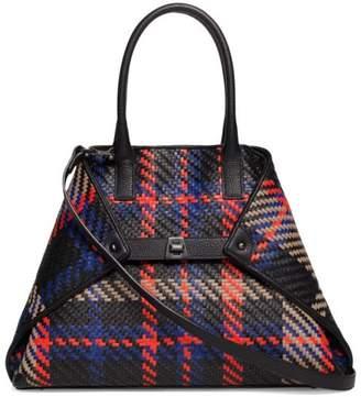 Akris Small Plaid Leather Tote Bag