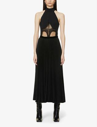 David Koma Lace-panel cotton-blend midi dress