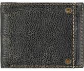Black Rivet Mens Distressed White Faux-Leather Bi-Fold Wallet Black