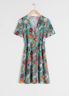 And other stories Belted Candy Print Cotton Dress