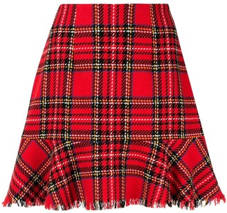 macgraw Silence checked fluted hem skirt