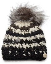 Mischa Lampert Striped Fur Pom-Pom Wool Beanie