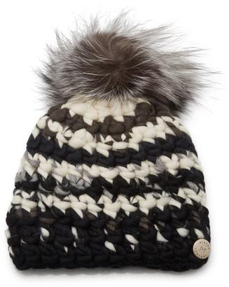 Mischa Lampert Striped Fur Pom-Pom Wool Beanie