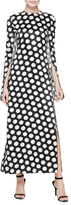 Calvin Klein Polka Dot Cape-Sleeve Gown, Black