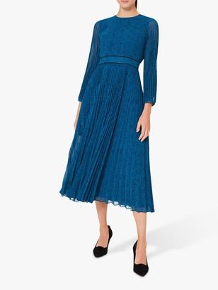 Hobbs Isabella Spot Pleated Dress, Kingfisher