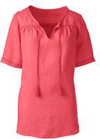Classic Women's Petite Linen Blouse-Midnight Indigo Stripe