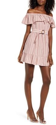 Speechless Stripe Belted Off the Shoulder Minidress