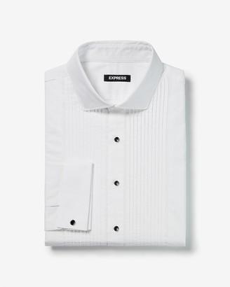 Express Extra Slim Pleated Shank Button Tuxedo Dress Shirt