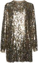 Prada Crystal-Embellished Sequined Tulle Mini Dress
