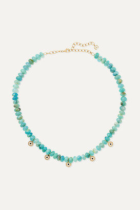 Sydney Evan Evil Eye 14-karat Gold, Enamel, Opal And Diamond Necklace - one size