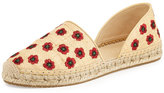 Jimmy Choo Hibiscus Embroidered d'Orsay Flat, Beige