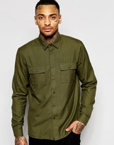Asos Khaki Military Shirt With Double Pockets In Regular Fit