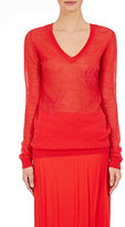 Nina Ricci Women's Bird-Embroidered V-Neck Sweater-RED, PINK
