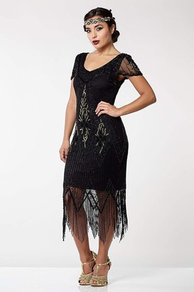 Gatsbylady London Annette Fringe Flapper Dress in Black Gold