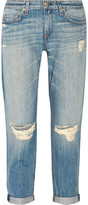 Rag & Bone The Boyfriend Distressed Mid-rise Jeans - Light denim