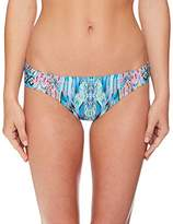 Laundry by Shelli Segal Women's Abstract Feathers Tab Side Bikini Bottom