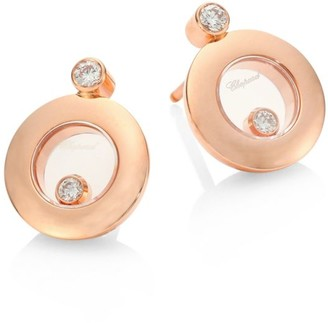 Chopard Happy Diamonds & 18K Rose Gold Round Stud Earrings
