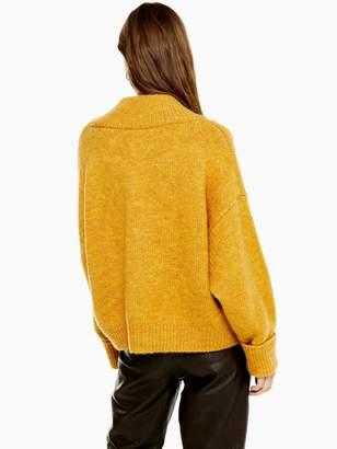 Topshop V Neck Knitted Jumper - Mustard