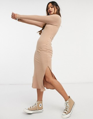 New Look ribbed turtle neck bodycon dress in oatmeal