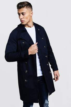 BoohoomanBoohooMAN Mens Navy Double Breasted Smart Trench, Navy