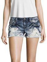 Miss Me Whiskered Star Patched Shorts