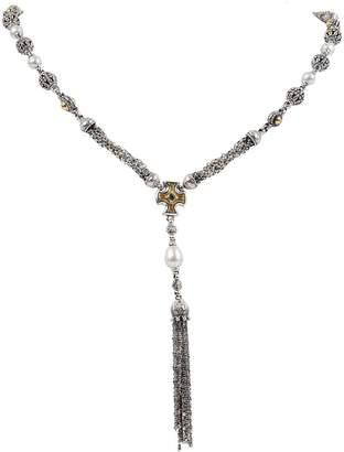 Konstantino Kleos Pearl Tassel Lariat Necklace w/ Aquamarine