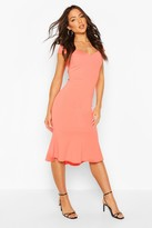 boohoo Sweetheart Neck Ruffle Hem Midi Dress