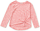 Copper Key Big Girls 7-16 Ribbed Knit Front Knot Twist Top