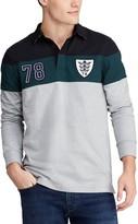 Chaps Big & Tall Long Sleeve Colorblock Fleece Rugby Shirt
