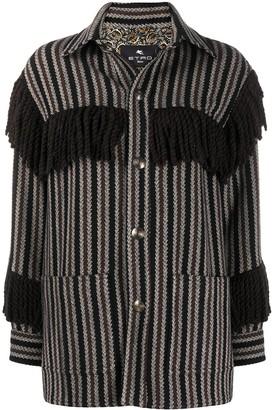 Etro Fringed-Detail Knit Jacket