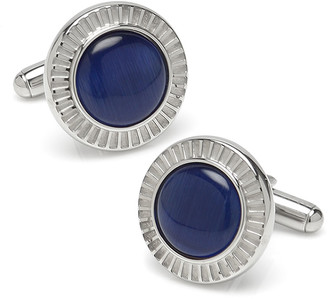 Cufflinks Inc. Men's Radiant Blue Cat's-Eye Stainless Steel Cufflinks