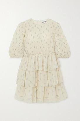 Ganni Tiered Ruffled Floral-print Georgette Mini Dress - Ivory