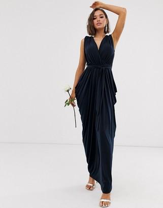 Club L London slinky cowl back bridesmaid maxi dress-Navy