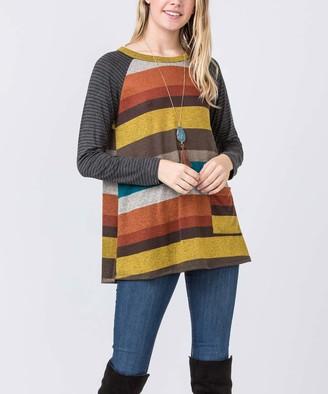 Egs By Eloges egs by eloges Women's Tunics BURGUNDY - Burgundy & Mustard Stripe One Pocket Tunic - Women & Plus