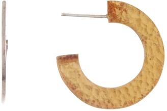 Gurhan Two-Tone Sterling Silver Hammered Flat 25mm Hoop Earrings