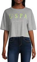 U.S. Polo Assn. Womens Crew Neck Short Sleeve Crop Top-Juniors