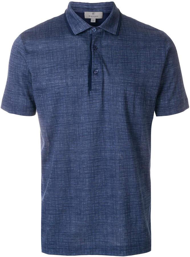 Canali scratch print polo shirt