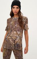 PrettyLittleThing Khaki Forest Print Camo Oversized T Shirt
