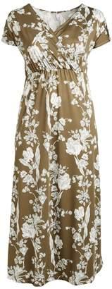 Bella Flore Women's Maxi Dresses OLIVE - Olive & White Floral Surplice Maxi Dress - Plus