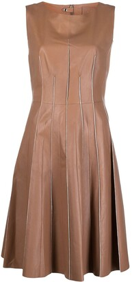 Desa 1972 Belted Flared Leather Dress