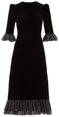 The Vampire's Wife The Falconetti Ruffled Silk-blend Velvet Dress - Black