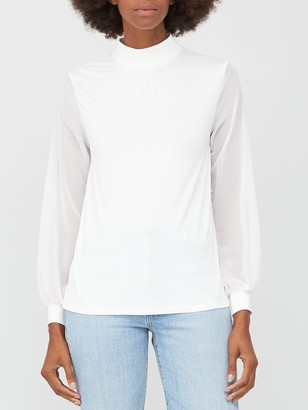 Very Chiffon Sleeve Turtle Neck Top - Off White